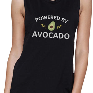 Powered By Avocado Black Cute Graphic Muscle Top Unique Design Tank - 365INLOVE