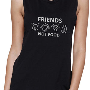 Friends Not Food Black Muscle Top Unique Design For Animal Lovers - 365INLOVE