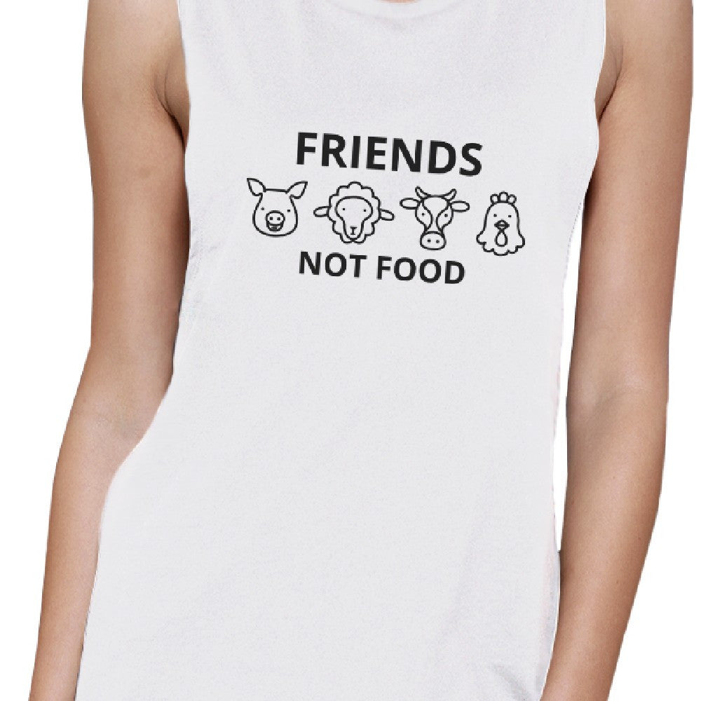 ee06c0e88c44b3 Friends Not Food White Muscle Tee Cute Animal Graphic Tank Tops ...