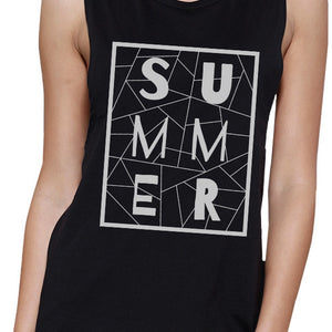 Summer Geometric Lettering Womens Black Crewneck Cotton Tank Top - 365INLOVE