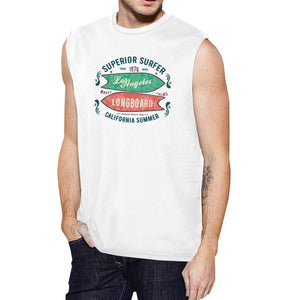 Superior Surfer Los Angeles Longboard Mens White Muscle Top