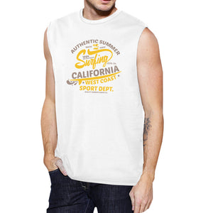 Authentic Summer Surfing California Mens White Muscle Top