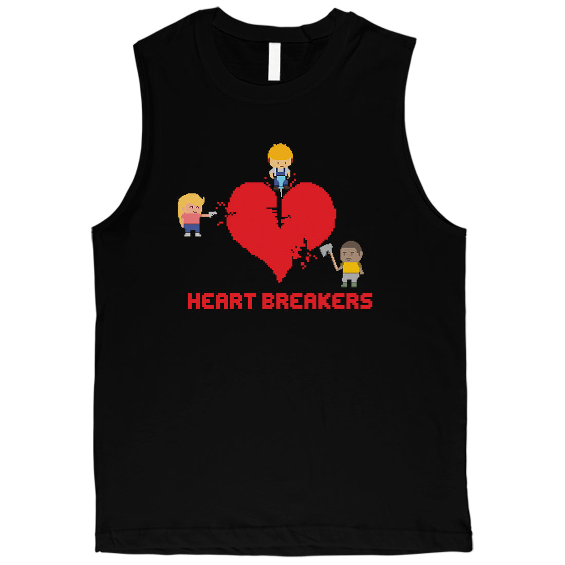 b0d8af143b134e Heart Breakers Mens Funny Graphic Workout Muscle Tank Top For Him