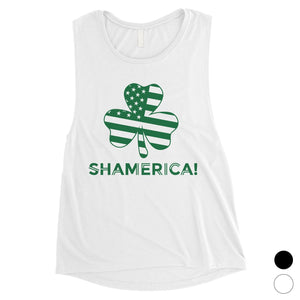 Shamerica Flag Womens Muscle Tank Top Cute St Paddy's Day Shirt