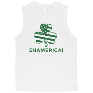 Shamerica Flag Mens Muscle Tank Top Funny St Paddy's Day Shirt Idea