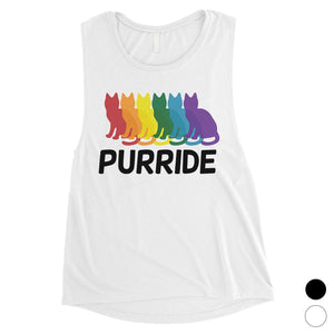 LGBT Purride Rainbow Cats Womens Muscle Top