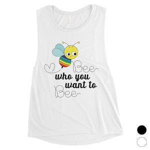 LGBT Bee Who Rainbow Womens Muscle Top