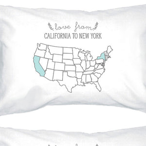 Love From States White Personalized Pillow Cases Customized Gifts - 365INLOVE