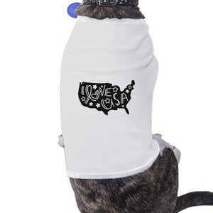 I Love USA Map White Dog Shirt For Independence Day Small Dog Only - 365INLOVE