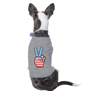 Peace Sign American Flag Grey Small Dog Shirt Cute Design Pet Shirt - 365INLOVE