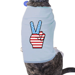 American Flag Peace Sign Independence Day T Shirt For Small Dogs - 365INLOVE