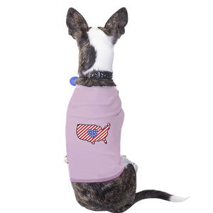 American Flag Pattern USA Map Graphic Pink Shirt For Small Pet Only - 365INLOVE