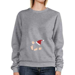 Baby Santa Foot And Handprints Grey Sweatshirt