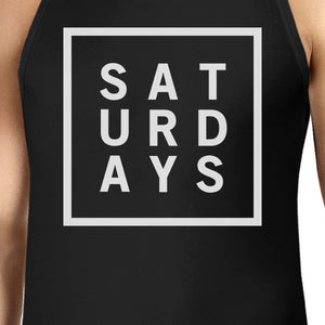 Saturdays Mens Sleeveless Black Tank Top Typography Trendy Tops - 365INLOVE