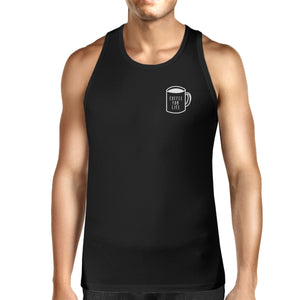 Coffee For Life Mens Sleeveless Black Tank Top For Coffee Lovers - 365INLOVE