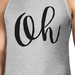 Oh Mens Gray Sleeveless Tanks Simple Calligraphy Gym Workout Top - 365INLOVE