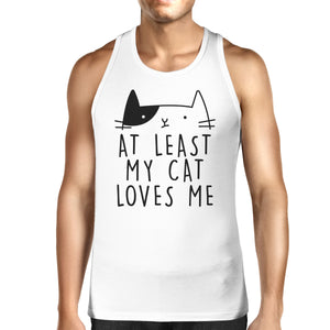 My Cat Loves Me Men's Sleeveless Tank Top Unique Cat Graphic - 365INLOVE