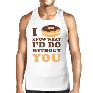 I Doughnut Know Mens White Summer Tanks Unique Design Tanks - 365INLOVE