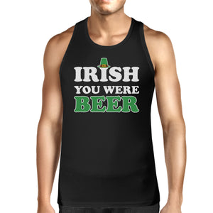 Irish You Were Beer Men's Black Sleeveless Top For St Patricks Day - 365INLOVE