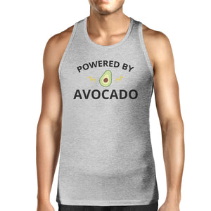 Powered By Avocado Mens Grey Cotton Tank Top Round Neck Cute Design - 365INLOVE