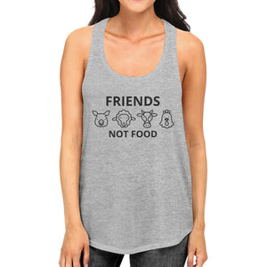 Friends Not Food Women's Grey Cute Animal Advocate Quote Tank Tops - 365INLOVE