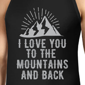Mountain And Back Men's Black Cotton Tank Top Cute Gift For Couples - 365INLOVE