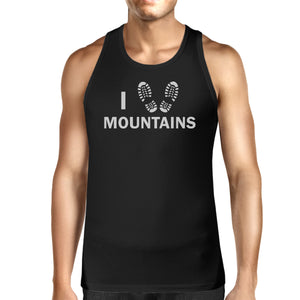 I Heart Mountains Men's Black Cotton Tanks For Mountain Lovers - 365INLOVE
