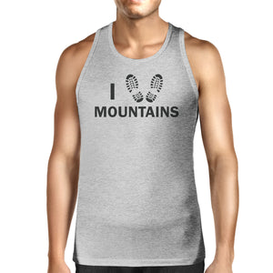 I Heart Mountains Men's Gray Round Neck Tank Top Earth Day Inspired - 365INLOVE