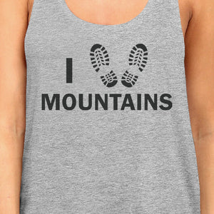 I Heart Mountains Womens Gray Roundneck Tank Top Earth Day Inspired - 365INLOVE
