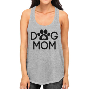 Dog Mom Women's Grey Cute Dog Paw Graphic Tank Top For Dog Lovers - 365INLOVE