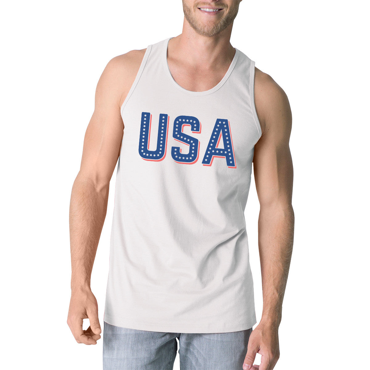 b51af3b7c77eb USA With Stars Mens White Graphic Tank Top Cute 4th Of July Tanks ...