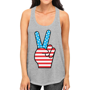 Cute Peace Sign Womens Tanks Unique American Flag Gray Tank Top - 365INLOVE
