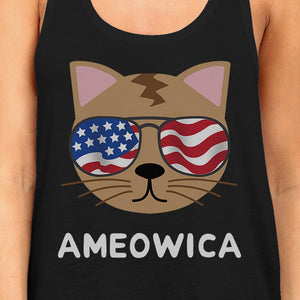 Ameowica Womens Black Graphic Tank Top Cute Cate Design Tanks - 365INLOVE