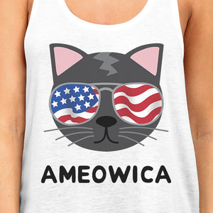 Ameowica Womens White 4th Of July Sleeveless Shirt For Cat Lovers - 365INLOVE