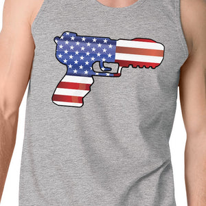 American Flag Pistol Mens Tank Top Unique Gift For Gun Supporters - 365INLOVE