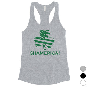 Shamerica Flag Womens Tank Top Cute St Paddy's Day Shirt