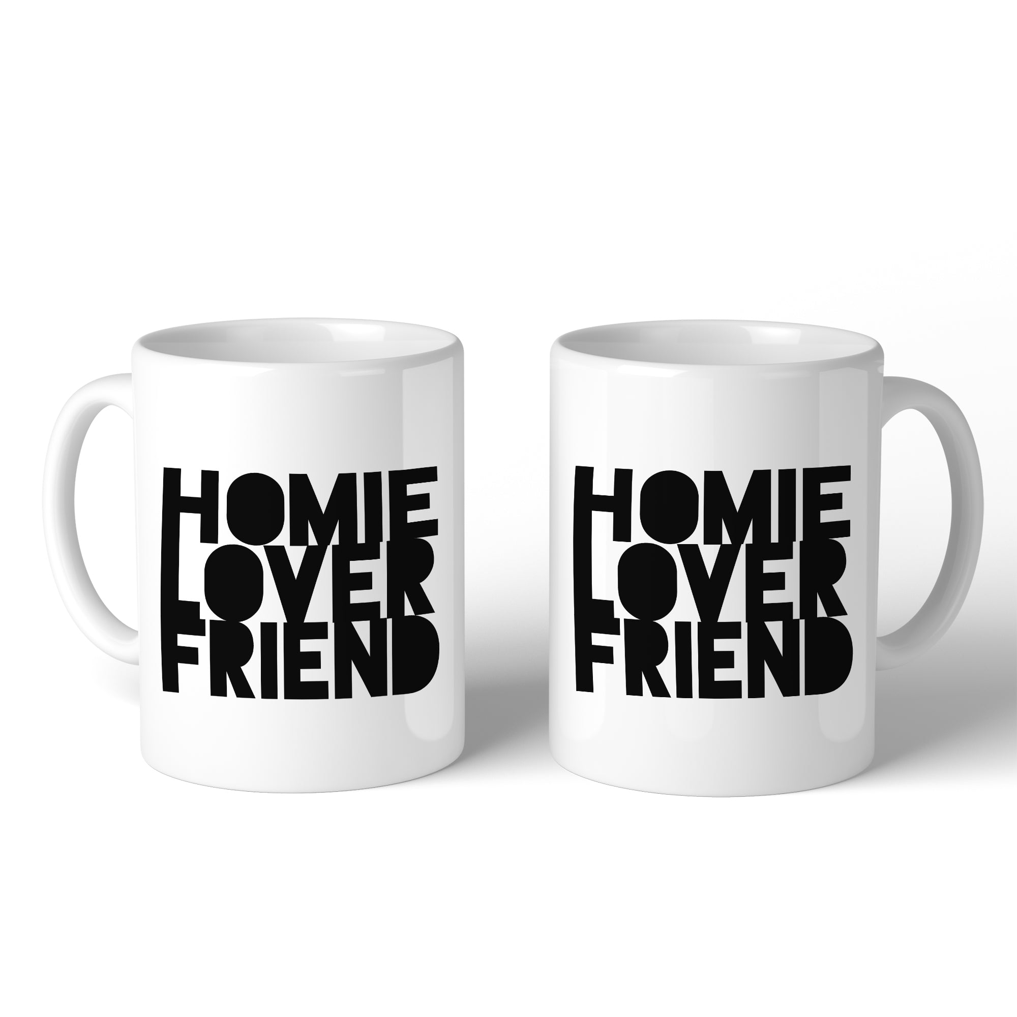 Homie Lover Friend Matching Couple White Mugs