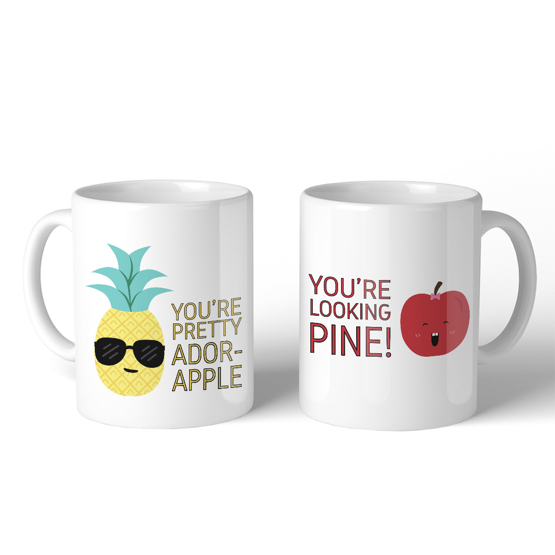 Pineapple Apple 11oz Cute Matching Couple Gift Mugs For Anniversary 365 In Love Matching Gifts Ideas