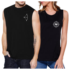 Bow And Arrow To Heart Target Matching Couple Black Muscle Top