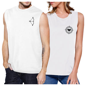 Bow And Arrow To Heart Target Matching Couple White Muscle Top