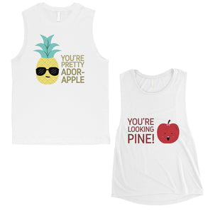 Pineapple Apple Cute Matching Muscle Tank Tops Cute Newlywed Gift