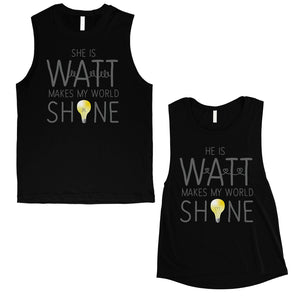Watt World Shine Light Matching Muscle Tank Tops For Anniversary