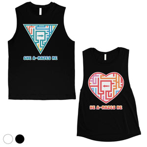 A-Mazes Me Matching Muscle Tank Tops For Cute Valentine's Day Gift