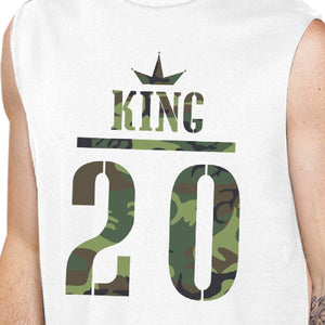 King And Queen Military Pattern Custom Matching Couple White Muscle Top