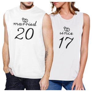 Married Since Custom Matching Couple White Muscle Top