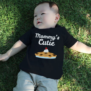 Mommy's Cutie Pie Baby Tee Cute Infant Black T Shirt Gift for Baby Shower - 365INLOVE