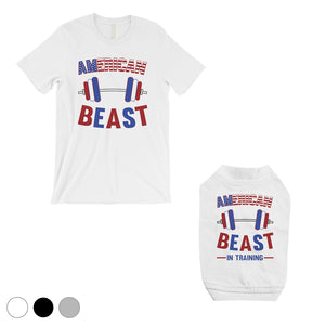 American Beast Training Small Dog and Owner Matching Shirts Funny