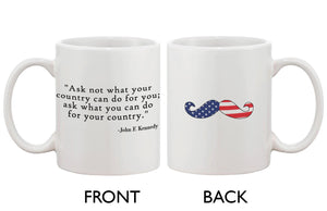 American Flag Design Ceramic Coffee Mug Statement - John F. Kennedy Quote - 365INLOVE