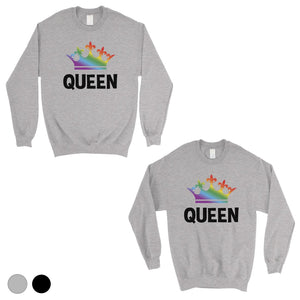 LGBT Queen Queen Rainbow Crown Matching Couple SweatShirts
