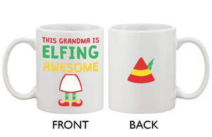Cute Holiday Coffee Mug for Grandmother - This Grandma Is Elfing Awesome - 365INLOVE